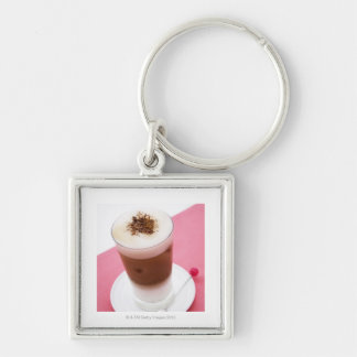 Iced Cappuccino Silver-Colored Square Keychain