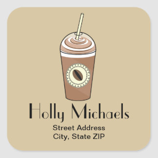 Iced Coffee Address Sticker