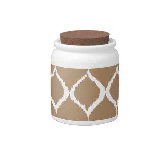 Iced Coffee Geometric Ikat Tribal Print Pattern Candy Jar