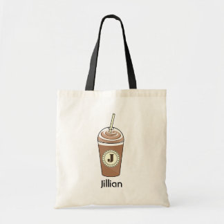 Iced Coffee To Go With Whipped Cream Monogram Tote Bag