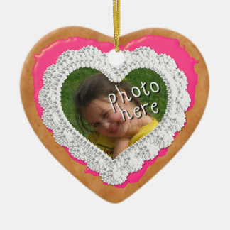 Iced Heart Photo Cookie Ornament Bright Pink