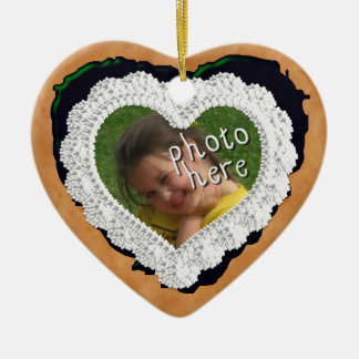 Iced Heart Photo Cookie Ornament Dark Green