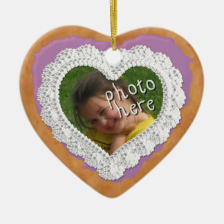 Iced Heart Photo Cookie Ornament Dark Purple