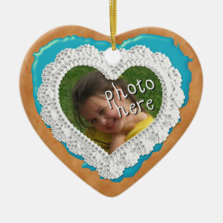 Iced Heart Photo Cookie Ornament Light Blue