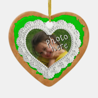 Iced Heart Photo Cookie Ornament Light Green