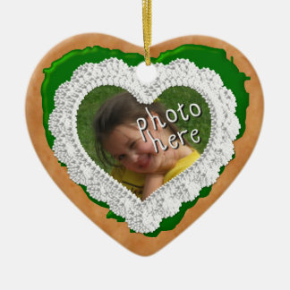 Iced Heart Photo Cookie Ornament Med Green