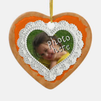 Iced Heart Photo Cookie Ornament Orange