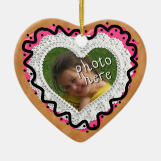 Iced Heart Photo Cookie Ornament Pink and Black