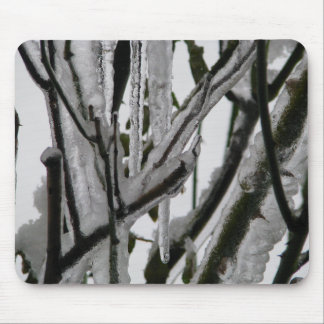 Iced Rose Branches Mouse Pad