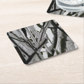 Iced Rose Branches Square Paper Coaster