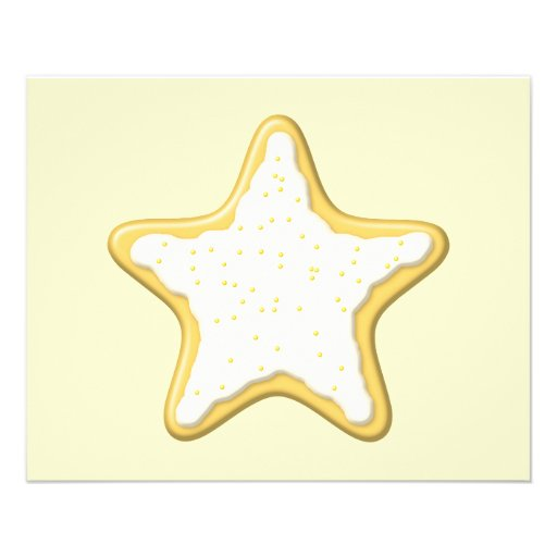 Iced Star Cookie. Yellow and Cream. Personalized Flyer