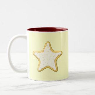 Iced Star Cookie. Yellow and Cream. Coffee Mug