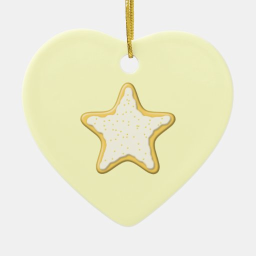 Iced Star Cookie. Yellow and Cream. Christmas Tree Ornaments