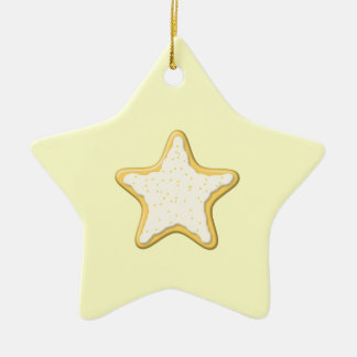 Iced Star Cookie. Yellow and Cream. Double-Sided Star Ceramic Christmas Ornament