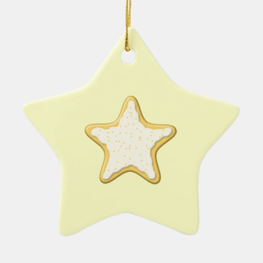 Iced Star Cookie. Yellow and Cream. Christmas Ornament