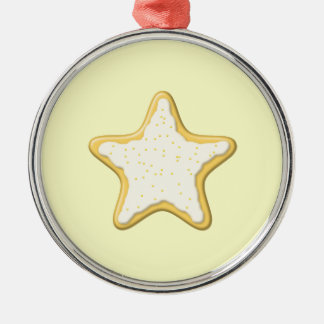Iced Star Cookie. Yellow and Cream. Round Metal Christmas Ornament