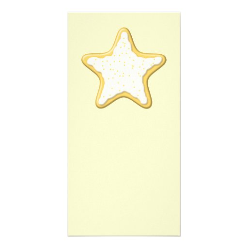 Iced Star Cookie. Yellow and Cream. Photo Card