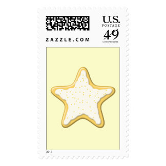 Iced Star Cookie. Yellow and Cream. Postage