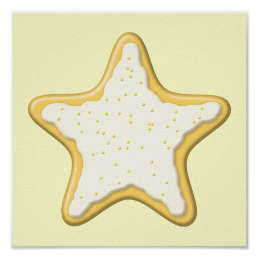 Iced Star Cookie. Yellow and Cream. Poster