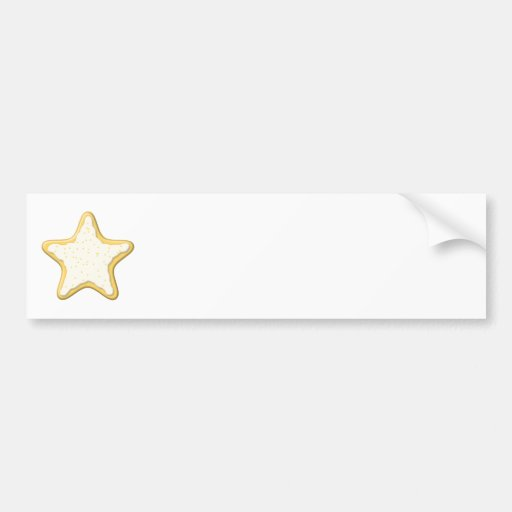 Iced Star Cookie. Yellow and White. Bumper Stickers