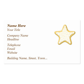 Iced Star Cookie. Yellow and White. Business Card