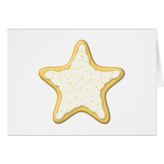 Iced Star Cookie. Yellow and White. Stationery Note Card