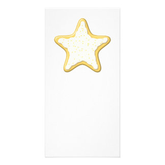 Iced Star Cookie. Yellow and White. Card