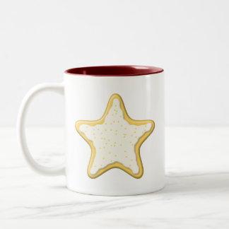 Iced Star Cookie. Yellow and White. Mug
