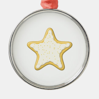 Iced Star Cookie. Yellow and White. Round Metal Christmas Ornament