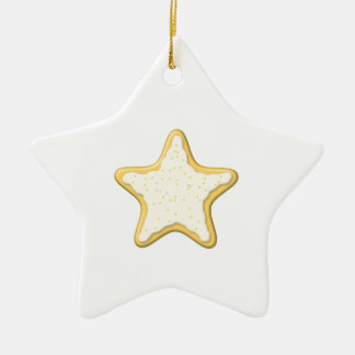 Iced Star Cookie. Yellow and White. Double-Sided Star Ceramic Christmas Ornament