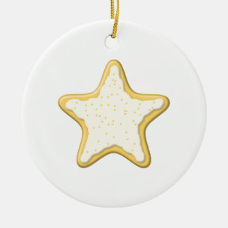 Iced Star Cookie. Yellow and White. Double-Sided Ceramic Round Christmas Ornament