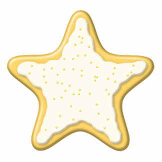 Iced Star Cookie. Yellow and White. Photo Sculpture Ornament