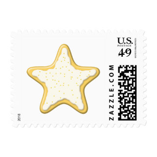 Iced Star Cookie. Yellow and White. Postage