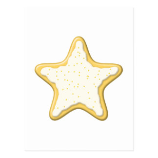 Iced Star Cookie. Yellow and White. Postcard