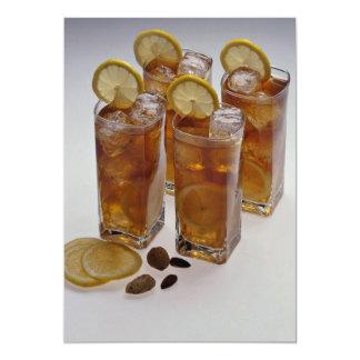 Iced tea in glass tumbler with lemon slice invitations
