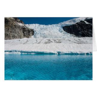 Icefall y lago, Juneau Icefield (espacio en blanco Tarjetón