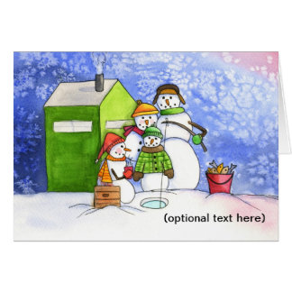Icefishing Snowman Family Card