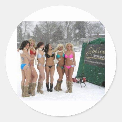 IceFishingGirls Pegatina Redonda