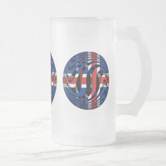 Iceland #1 frosted glass beer mug