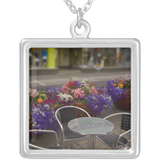 Iceland, Akureyri. View of the main business Square Pendant Necklace