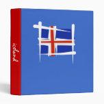 Iceland Brush Flag 3 Ring Binders