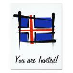 Iceland Brush Flag 4.25x5.5 Paper Invitation Card