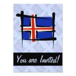 Iceland Brush Flag 5x7 Paper Invitation Card