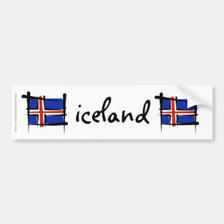 Iceland Brush Flag Bumper Sticker