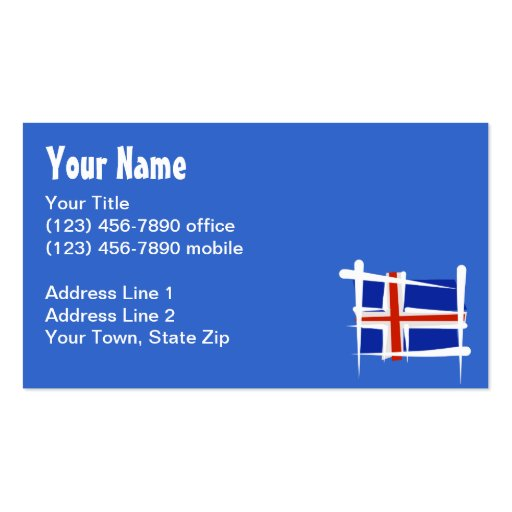 Iceland Brush Flag Double-Sided Standard Business Cards (Pack Of 100)