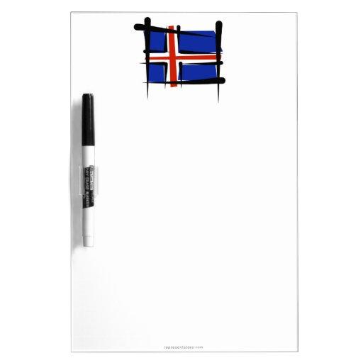 Iceland Brush Flag Dry Erase Whiteboards