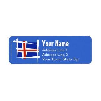 Iceland Brush Flag Label