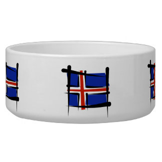 Iceland Brush Flag Pet Food Bowl