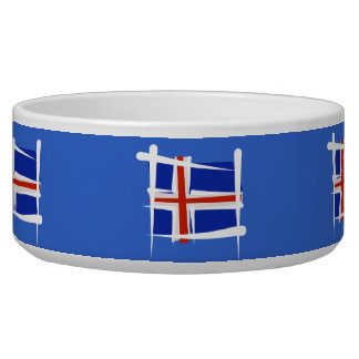 Iceland Brush Flag Pet Bowl