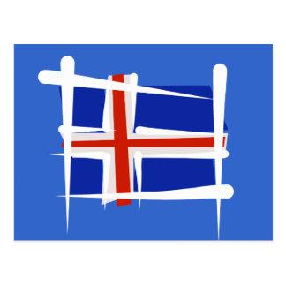 Iceland Brush Flag Postcard